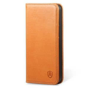 SHIELDON iPhone 5S Leather Genuine Wallet Phone Case - Compatible with iPhone 5 5S SE