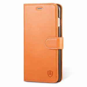 SHIELDON iPhone 7 Plus Flip Wallet Case - Genuine Leather Folio Book Case, Magnetic Clourse
