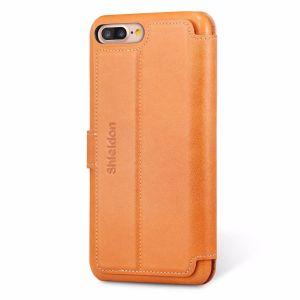SHIELDON iPhone 8 Plus Flip Cover Compatible with iPhone 7 Plus - Genuine Leather Folio Case