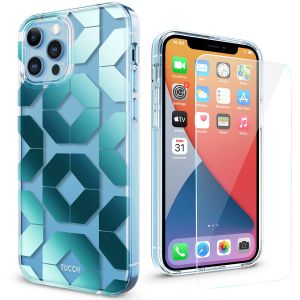 TUCCH iPhone 12 Pattern Case, iPhone 12 Pro Clear Floral Case, Transparent Thin Slim Scratchproof Shockproof TPU Case with Protective Glass Screen Protector for iPhone 12 / 12 Pro