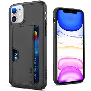 SHIELDON Genuine Leather Cover + Soft TPU Shockproof iPhone 11 Wallet Card Holder Drop Protection Bumper Case Support Wireless Charging Compatible with iPhone 11 (6.1-inch, 2019 Release)
