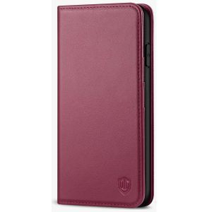 SHIELDON iPhone 11 Pro Max Wallet Case, Genuine Leather, Kick-stand, Magnetic Closure with Auto Sleep/Wake Function - Red Violet