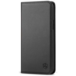 SHIELDON iPhone 13 Wallet Case, iPhone 13 Genuine Leather Cover with RFID Blocking, Book Folio Flip Kickstand Magnetic Closure - Black