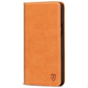 SHIELDON iPhone 13 Wallet Case, iPhone 13 Genuine Leather Cover with RFID Blocking, Book Folio Flip Kickstand Magnetic Closure - Brown