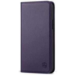 SHIELDON iPhone 13 Wallet Case, iPhone 13 Genuine Leather Cover with RFID Blocking, Book Folio Flip Kickstand Magnetic Closure - Dark Purple