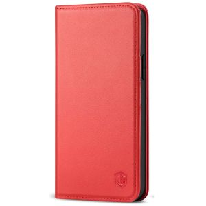 SHIELDON iPhone 13 Wallet Case, iPhone 13 Genuine Leather Cover with RFID Blocking, Book Folio Flip Kickstand Magnetic Closure - Red