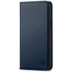 SHIELDON iPhone 13 Pro Wallet Case, iPhone 13 Pro Genuine Leather Cover with Magnetic Closure - Navy Blue