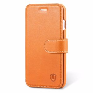 SHIELDON iPhone 8 Flip Book Case, Genuine Leather, Folio Style, Kickstand