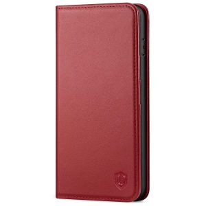 SHIELDON iPhone 8 Plus Wallet Case - iPhone 7 Plus Genuine Leather Kickstand Case - Dark Red