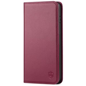 SHIELDON iPhone 8 Plus Wallet Case - iPhone 7 Plus Genuine Leather Kickstand Case - Red Violet