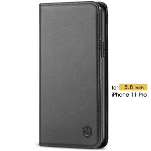 SHIELDON iPhone 11 Pro Genuine Leather Wallet Case - iPhone 11 Pro Flip Case with Auto Sleep/Wake Function - Black