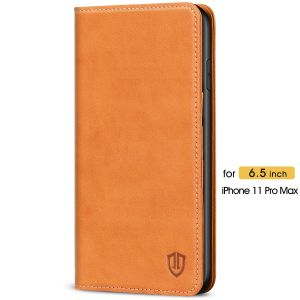 SHIELDON iPhone 11 Pro Max Wallet Case - iPhone 11 Pro Max Folio Case with Auto Sleep/Wake Function - Brown