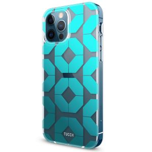 TUCCH iPhone 12 Pattern Case, iPhone 12 Pro Clear Floral Case with Hard Back Soft Frame, Pattern in the Middle Layer, Soft Flexible Shockproof TPU Case - Octagon