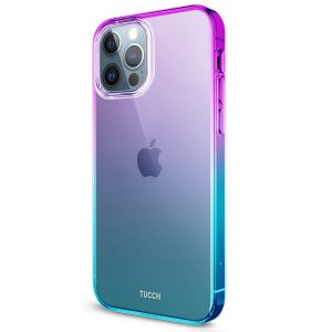 TUCCH iPhone 12 TPU Case, iPhone 12 Pro Clear Case with Hard Back Soft Frame, Color Gradient Crystal Shockproof TPU Case - Violet Blue