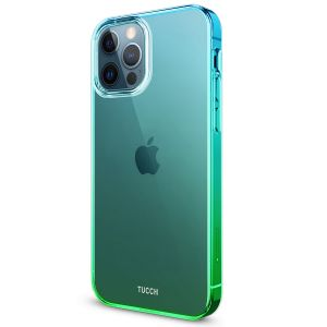 TUCCH iPhone 12 TPU Case, iPhone 12 Pro Clear Case with Hard Back Soft Frame, Color Gradient Crystal Shockproof TPU Case - Blue & Green