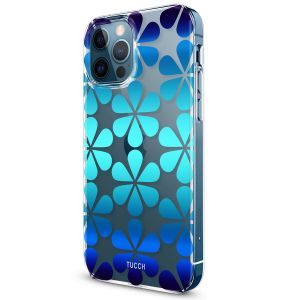 TUCCH iPhone 12 Pattern Case, iPhone 12 Pro Clear Floral Case with Hard Back Soft Frame, Pattern in the Middle Layer, Soft Flexible Shockproof TPU Case - Drop Water