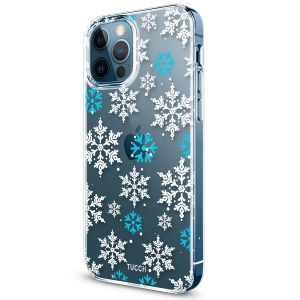 TUCCH iPhone 12 Pattern Case, iPhone 12 Pro Clear Floral Case with Hard Back Soft Frame, Pattern in the Middle Layer, Soft Flexible Shockproof TPU Case - Snowflake