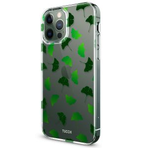 TUCCH iPhone 12 Pattern Case, iPhone 12 Pro Clear Floral Case with Hard Back Soft Frame, Pattern in the Middle Layer, Soft Flexible Shockproof TPU Case - Ginkgo