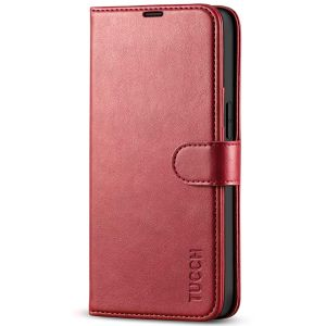 TUCCH iPhone 13 Wallet Case, iPhone 13 PU Leather Case, Folio Flip Cover with RFID Blocking, Credit Card Slots, Magnetic Clasp Closure - Dark Red