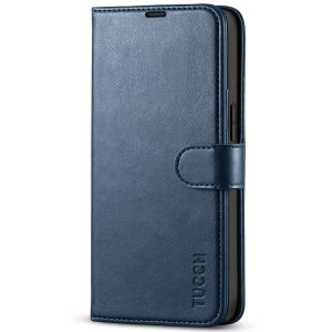 TUCCH iPhone 13 Wallet Case, iPhone 13 PU Leather Case, Folio Flip Cover with RFID Blocking, Credit Card Slots, Magnetic Clasp Closure - Dark Blue