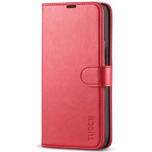 TUCCH iPhone 13 Wallet Case, iPhone 13 PU Leather Case, Folio Flip Cover with RFID Blocking, Credit Card Slots, Magnetic Clasp Closure - Bright Red