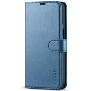 TUCCH iPhone 13 Wallet Case, iPhone 13 PU Leather Case, Folio Flip Cover with RFID Blocking, Credit Card Slots, Magnetic Clasp Closure - Light Blue