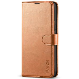 TUCCH iPhone 13 Wallet Case, iPhone 13 PU Leather Case, Folio Flip Cover with RFID Blocking, Credit Card Slots, Magnetic Clasp Closure - Light Brown