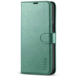 TUCCH iPhone 13 Wallet Case, iPhone 13 PU Leather Case, Folio Flip Cover with RFID Blocking, Credit Card Slots, Magnetic Clasp Closure - Myrtle Green