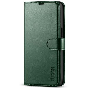 TUCCH iPhone 13 Wallet Case, iPhone 13 PU Leather Case, Folio Flip Cover with RFID Blocking, Credit Card Slots, Magnetic Clasp Closure - Midnight Green