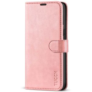 TUCCH iPhone 13 Wallet Case, iPhone 13 PU Leather Case, Folio Flip Cover with RFID Blocking, Credit Card Slots, Magnetic Clasp Closure - Rose Gold