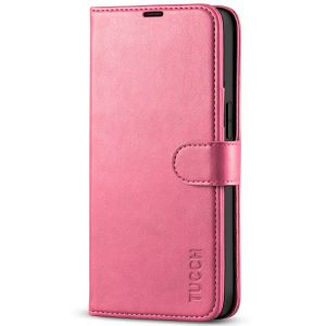 TUCCH iPhone 13 Wallet Case, iPhone 13 PU Leather Case, Folio Flip Cover with RFID Blocking, Credit Card Slots, Magnetic Clasp Closure - Hot Pink