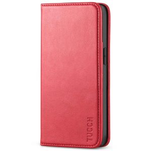 TUCCH iPhone 13 Wallet Case, iPhone 13 PU Leather Case, Flip Cover with Stand, Credit Card Slots, Magnetic Closure - Bright Red