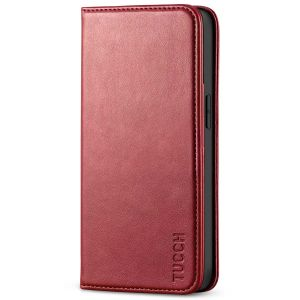 TUCCH iPhone 13 Wallet Case, iPhone 13 PU Leather Case, Flip Cover with Stand, Credit Card Slots, Magnetic Closure - Dark Red