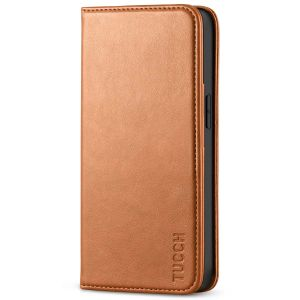 TUCCH iPhone 13 Wallet Case, iPhone 13 PU Leather Case, Flip Cover with Stand, Credit Card Slots, Magnetic Closure - Light Brown