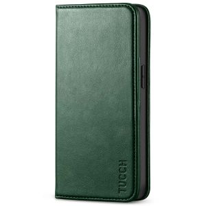 TUCCH iPhone 13 Wallet Case, iPhone 13 PU Leather Case, Flip Cover with Stand, Credit Card Slots, Magnetic Closure - Midnight Green