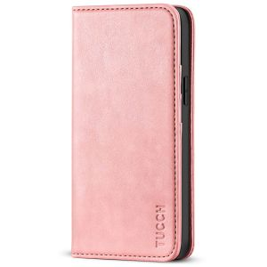 TUCCH iPhone 13 Wallet Case, iPhone 13 PU Leather Case, Flip Cover with Stand, Credit Card Slots, Magnetic Closure - Rose Gold