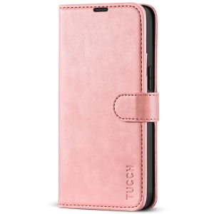 TUCCH iPhone 13 Mini Wallet Case, Mini iPhone 13 5.4-inch Leather Case, Folio Flip Cover with RFID Blocking, Stand, Credit Card Slots, Magnetic Clasp Closure - Rose Gold