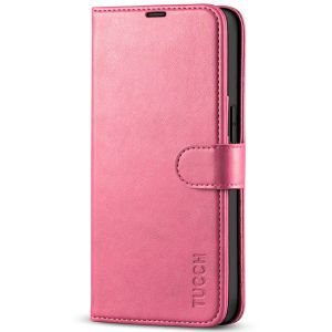 TUCCH iPhone 13 Pro Wallet Case, iPhone 13 Pro PU Leather Case, Folio Flip Cover with RFID Blocking and Kickstand - Hot Pink