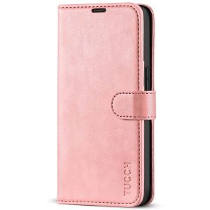 TUCCH iPhone 13 Pro Wallet Case, iPhone 13 Pro PU Leather Case, Folio Flip Cover with RFID Blocking and Kickstand - Rose Gold