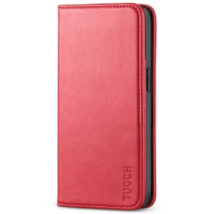 TUCCH iPhone 13 Pro Wallet Case, iPhone 13 Pro PU Leather Case with Folio Flip Book Style, Kickstand, Card Slots, Magnetic Closure - Bright Red