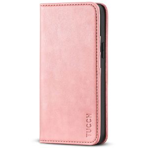TUCCH iPhone 13 Pro Max Leather Case, iPhone 13 Pro Max PU Wallet Case with Stand Folio Flip Book Cover and Magnetic Closure - Rose Gold