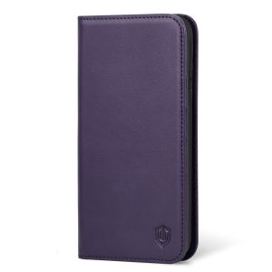 SHIELDON iPhone XR Leather Case, iPhone 10R Genuine Leather Folio Wallet Magnetic Protective Case with Shock Absorbing, RFID Blocking, Card Holder, Kickstand - Purple