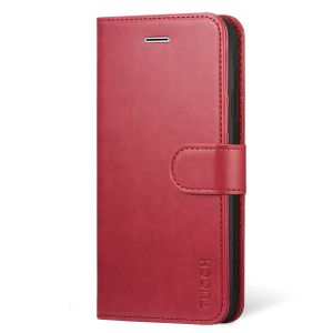 TUCCH iPhone XS Max Wallet Case - Leather Cover, Stand, Flip Style - Red