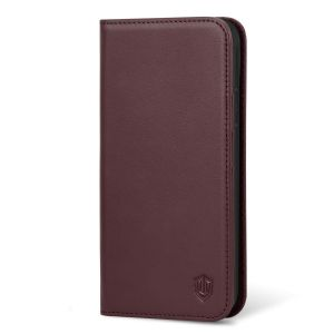 SHIELDON iPhone XS Wallet Cover, iPhone XS Genuine Leather Case, Auto Sleep/Wake Up, Kickstand, Book Flip Folio Style, Magnetic Closure, RFID, Wireless Charging - Wine Red