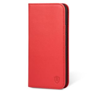 SHIELDON iPhone XS Max Case, iPhone 10S Max Genuine Leather Wallet Case - Auto Wake/Sleep, Kickstand, Magnetic Closure - Red
