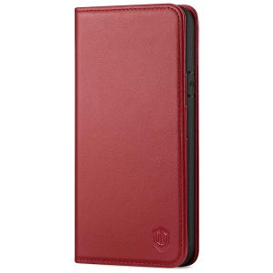SHIELDON iPhone XS Leather Case, iPhone X / XS Wallet Case, Auto Sleep/Wake Up, RFID, Magnetic Closure, Kickstand - Dark Red