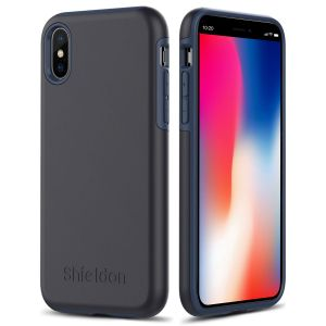 SHIELDON iPhone X / iPhone XS Case - Dark blue grey Case for Apple iPhone X / iPhone 10 - Plateau Series