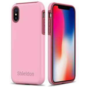 SHIELDON iPhone X Case -  Pink color Case for Apple iPhone X / iPhone 10 - Plateau Series