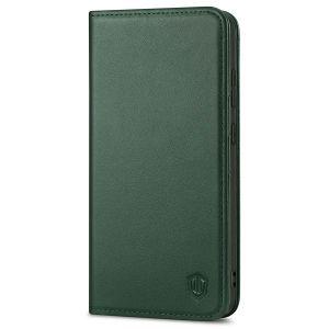 SHIELDON SAMSUNG GALAXY S21FE Flip Folio Book Kickstand Case, SAMSUNG S21 FE Genuine Leather Wallet Case - Midnight Green