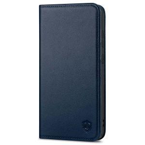 SHIELDON SAMSUNG GALAXY S21FE Flip Folio Book Kickstand Case, SAMSUNG S21 FE Genuine Leather Wallet Case - Navy Blue